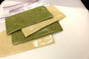 Rolled dough in Ziploc bags