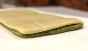 Original dough sheet on top of moringa dough sheet
