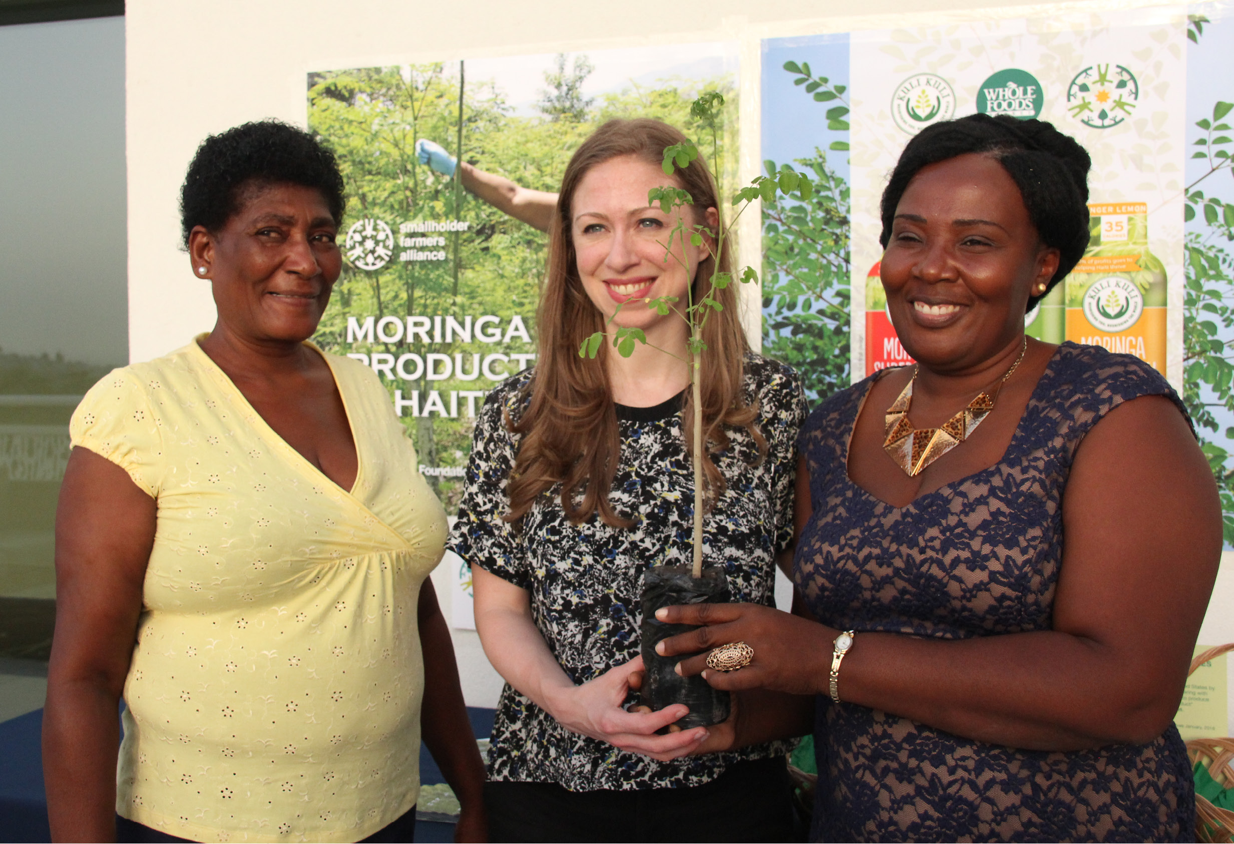Chelsea Clinton with Kuli Kuli Moringa farmers