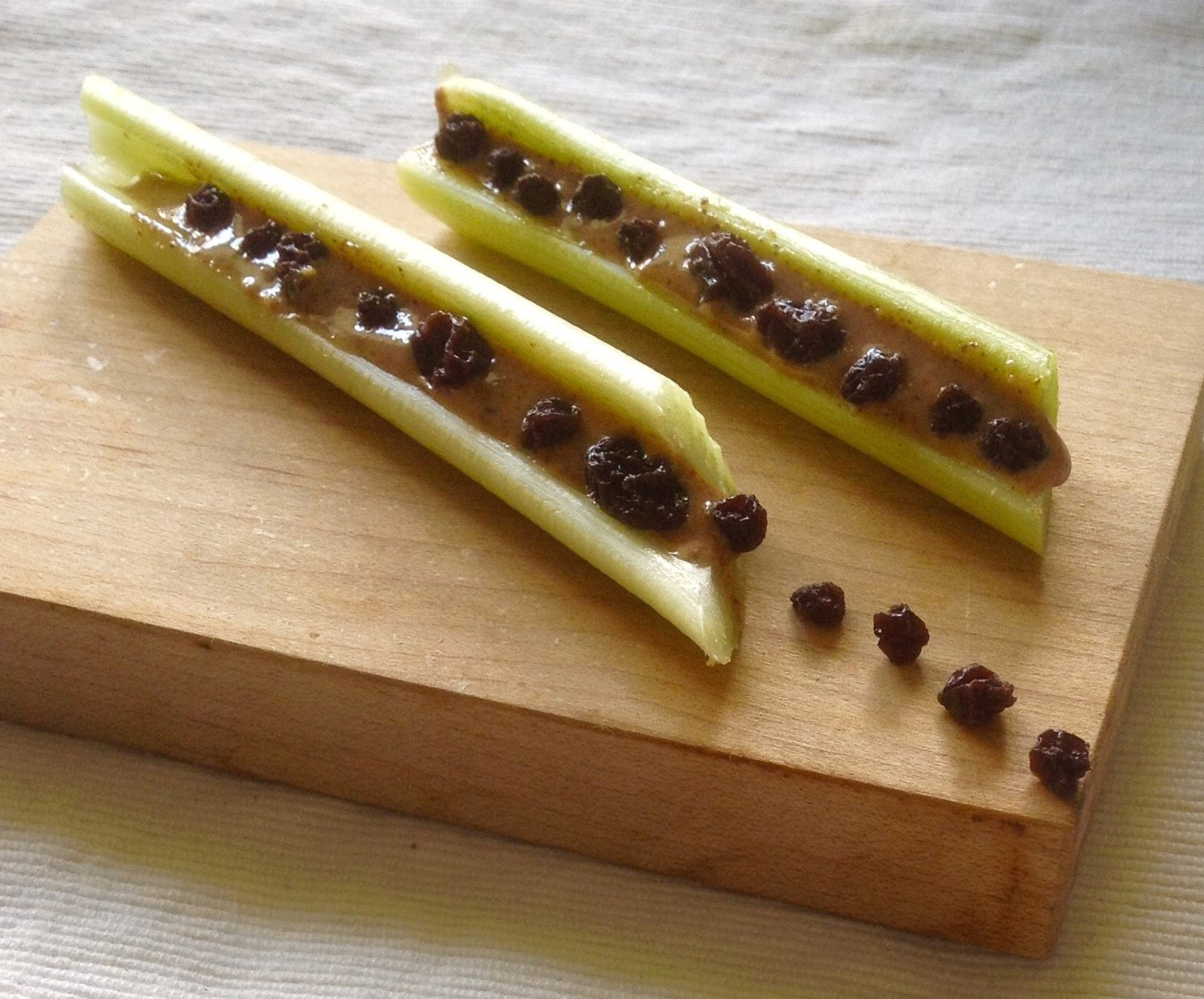 Currants, Almond Butter, Celery Ants on a Log