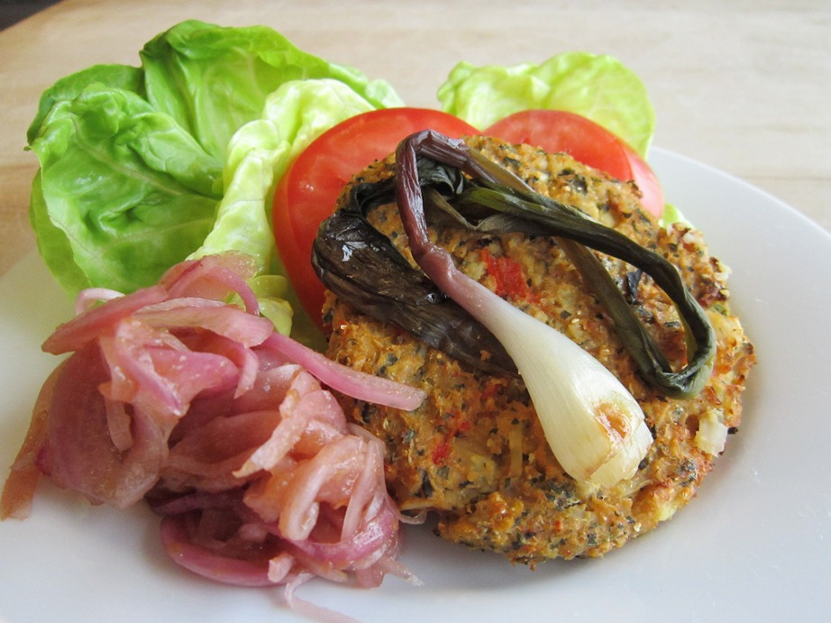 Garden Veggie Burger with Pickled Onions and Roasted Ramp