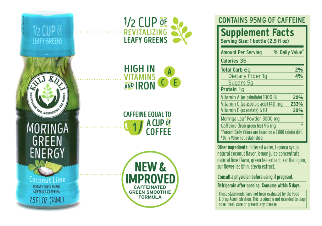 Moringa Green Energy Shot Nutrition
