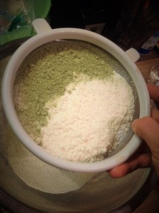 Sifting green powder with flour