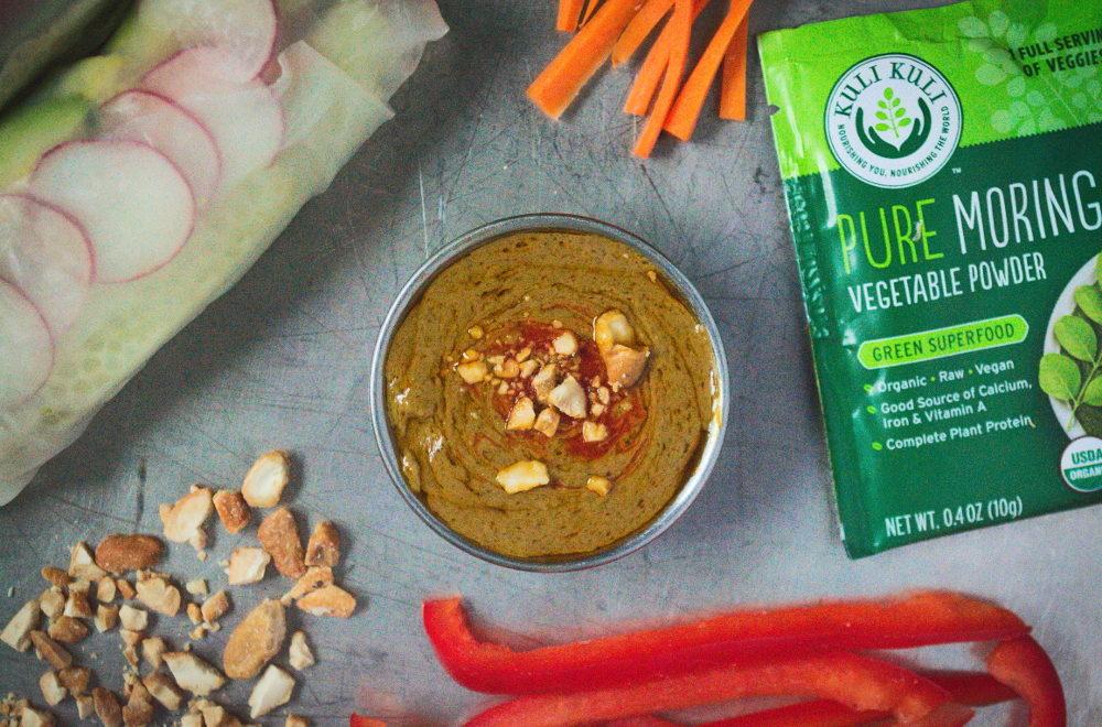 Vegetarian Spring Rolls with a Savory Moringa Peanut Sauce
