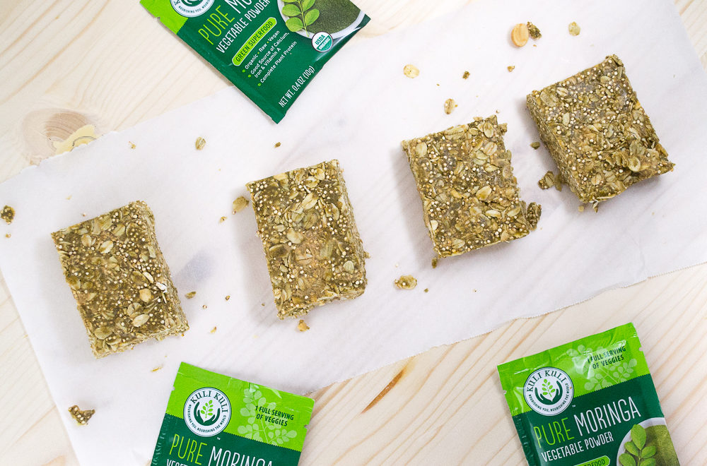 Peanut Moringa Breakfast Bars with Toasted Quinoa