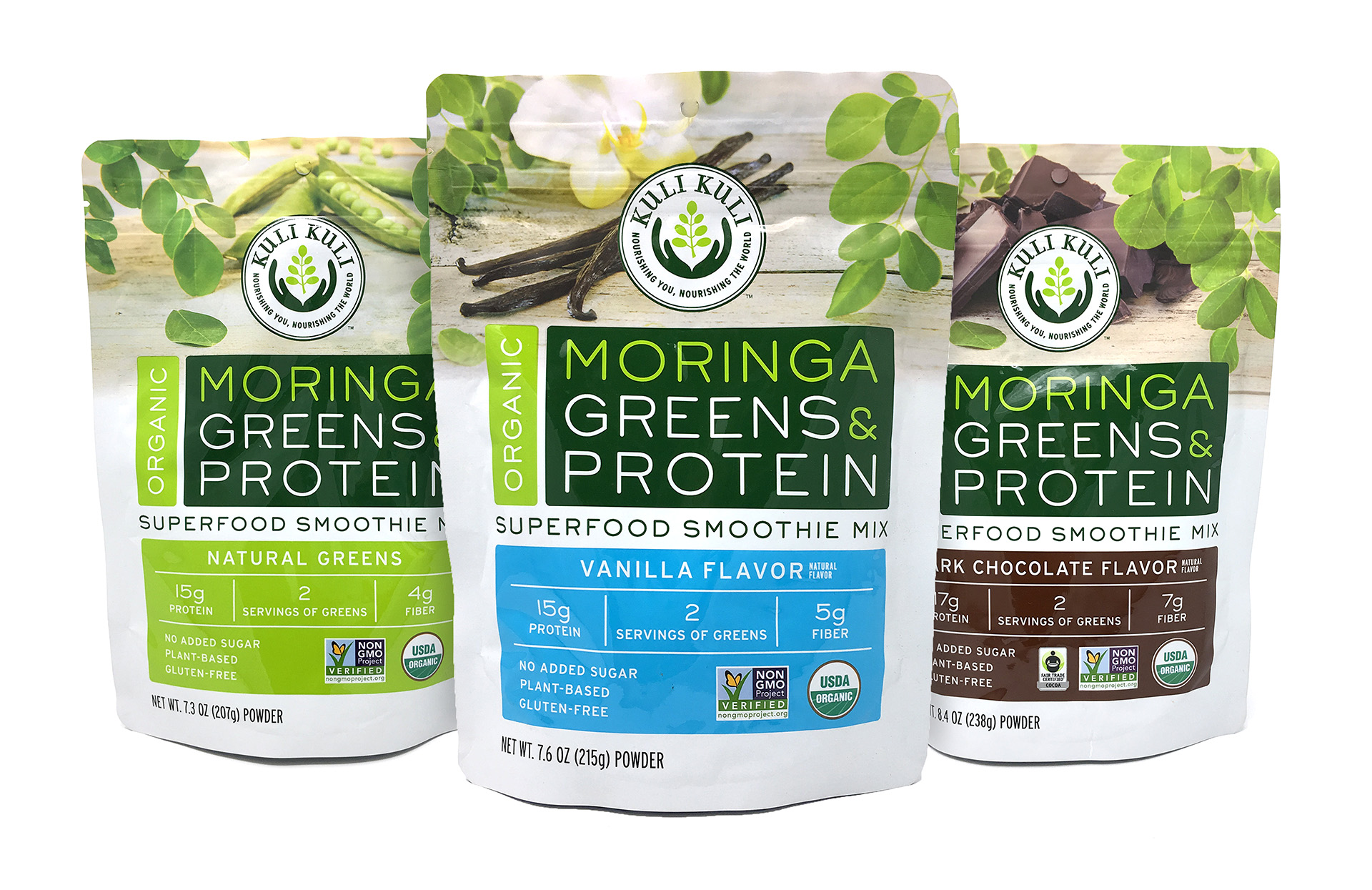 Kuli Kuli Moringa Greens & Protein Superfood Smoothie Mix on White