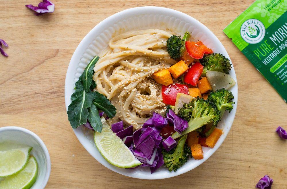 Rainbow Veggie Stir-fry with Savory Moringa Peanut Sauce
