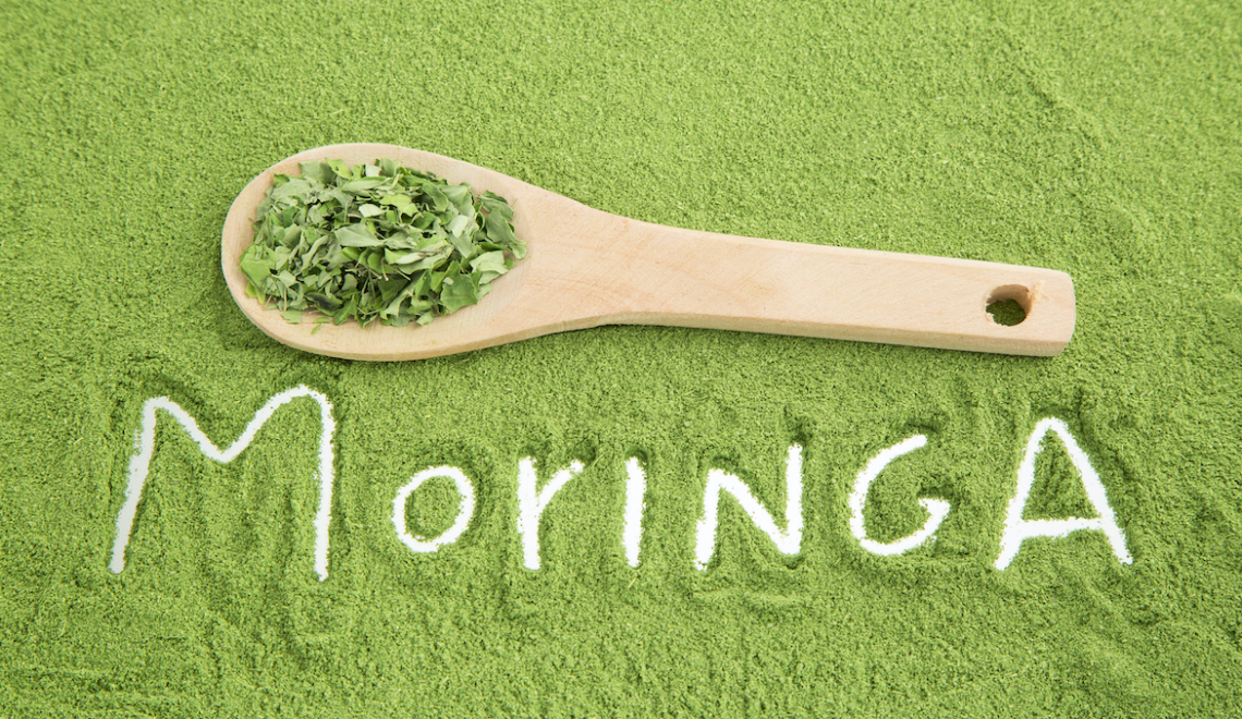 The word Moringa written in moringa powder