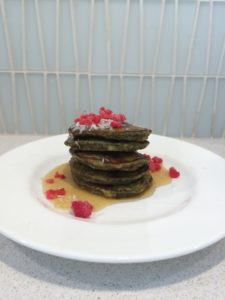 Moringa Pancakes with Raspberries